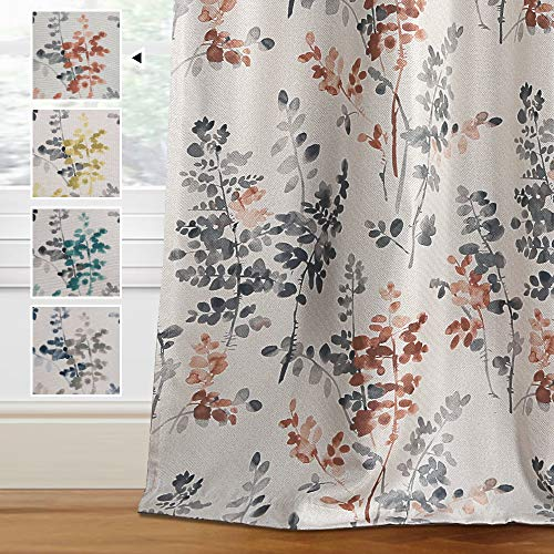 H.VERSAILTEX Linen Blackout Curtains 84 Inches Long Room Darkening Burlap Effect Linen Curtain Draperies for Living Room/Bedroom GreyandCoral Vintage Classical Floral Printing Grommet 2 Panel