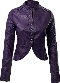 b44b7657581 Instar Mode Women s Faux Leather Suede Zip Up Moto Biker Jacket Coat