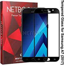 NETBOON Tempered Glass Full Screen Protector Gorilla Glass Guard HD Clear for Samsung A7 2017 - Black
