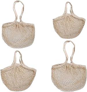 Hjj Conjunto de 4 Bolsas de Malla de comestibles Organizador, Bolsa de algodón orgánico Bolsa de Red Tote con Mango Lavabl...