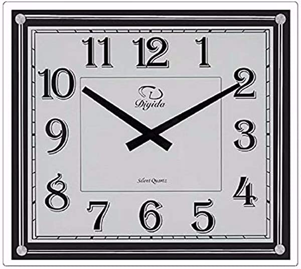 SMC 14 Inch Modern Non Ticking Silent Quartz Analog Digital Rectangular Ultra Thin Glass Wall Clock