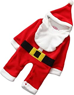 FENICAL Newborn Toddler Winter Warm Outfits Christmas Santa Claus Romper Hat Bib Set Long Sleeve Jumpsuit Christmas Costume for Baby 6-12 Months Old