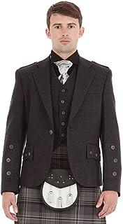 Kilt Society Mens Scottish Grey Tweed Braemar Kilt Jacket & Vest