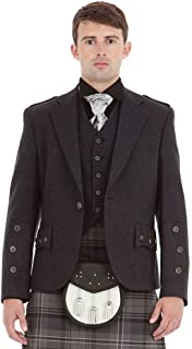 Kilt Society Mens Scottish Grey Tweed Braemar Kilt Jacket & Vest