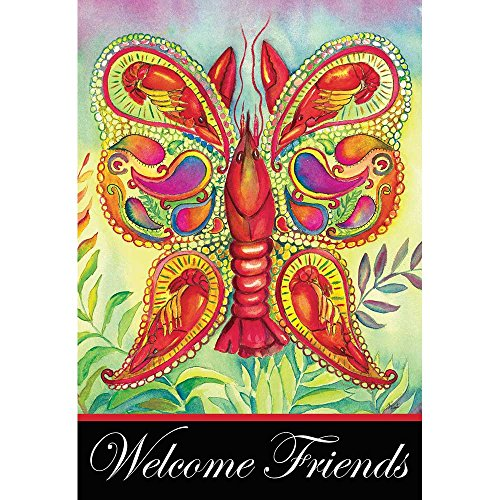 Magnolia Garden Welcome Friends Crawfish Butterfly 44 x 30 Rectangular Screenprint Large House Flag