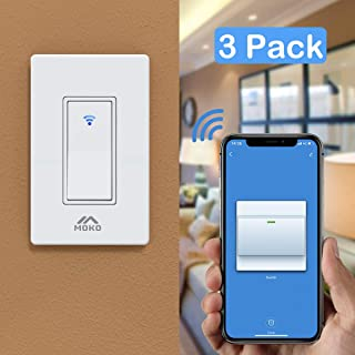 MoKo Smart Life Switch, 3 Pack Smart WiFi Light Switch with Remote Control and Timer, Compatible with Alexa, Google Home and IFTTT, Neutral Wire Required, Easy and Safe Installation – White