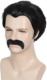 Linfairy Short 80's Costumes Men's Disco Dirt Bag Wig & Moustache Halloween Cosplay Costume Black Wig