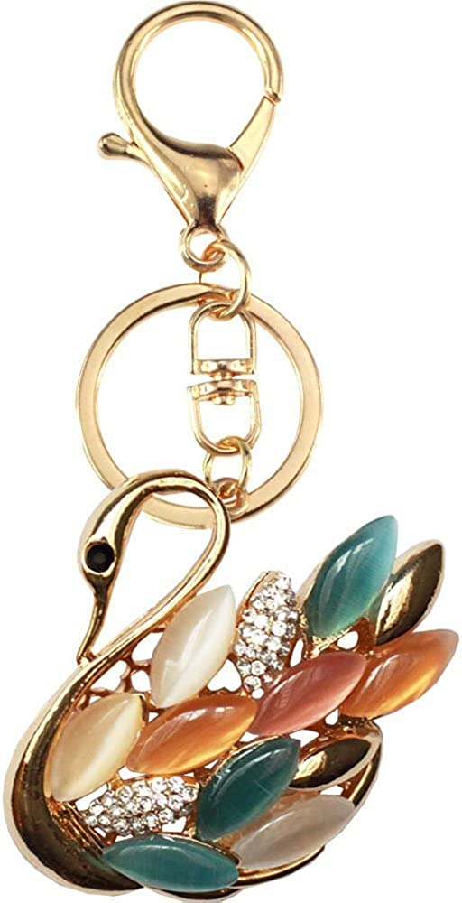 Cute Swan Keychain Sparkling Keyring Crystal Rhinestones Purse Pendant Handbag Charm (Multicolored)
