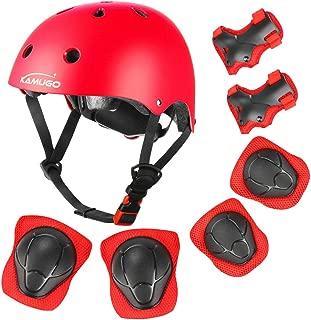 KAMUGO Kids Adjustable Helmet, with Sports Protective Gear Set Knee Elbow Wrist Pads for Toddler Age 3-8 Boys Girls, Bike Skateboard Hoverboard Scooter Rollerblading Helmet Set