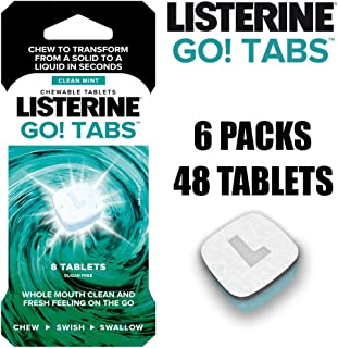 LISTERINE Go! Tabs – Sugar Free Tablets with Clean Mint Flavour for Fresh Breath On-the-go – Pack of 48 Tablets