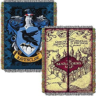 Harry Potter Marauders Map with Ravenclaw Crest Woven Tapestry Throw (48inx60in)