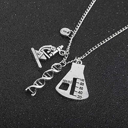 wangtao Chemisch-biologisches Experimentelles Werkzeug Halskette Anhänger Erlenmeyerkolben Molekulares DNA-Mikroskop Handgemacht Für Frauen Männer Accessories 50 cm / N517