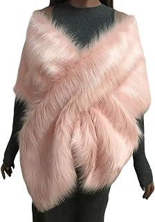 Mujer Novia Boda Fiesta Estolas De Piel Sintetica Largo Otoño E Invierno Hombro Cruzado Grande Pelo Bolero Chal Capas para Vestido De Noche