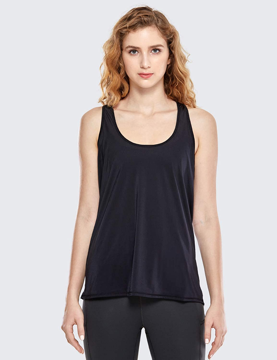CRZ YOGA Womens Activewear Tops Mesh Workout Racerback Lightweight Sculpt Tank