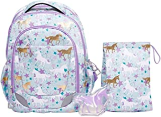 CRCKT Youth Backpack, 3 Piece Set with Lunch Kit and Matching Ice Pack, Unicorn