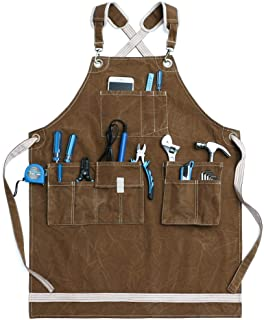 Jeanerlor Washed Shop Apron 12oz Water-Resistant Work Aprons for Men Heavy Duty Waxed Canvas Tool Apron with Pockets Thick...