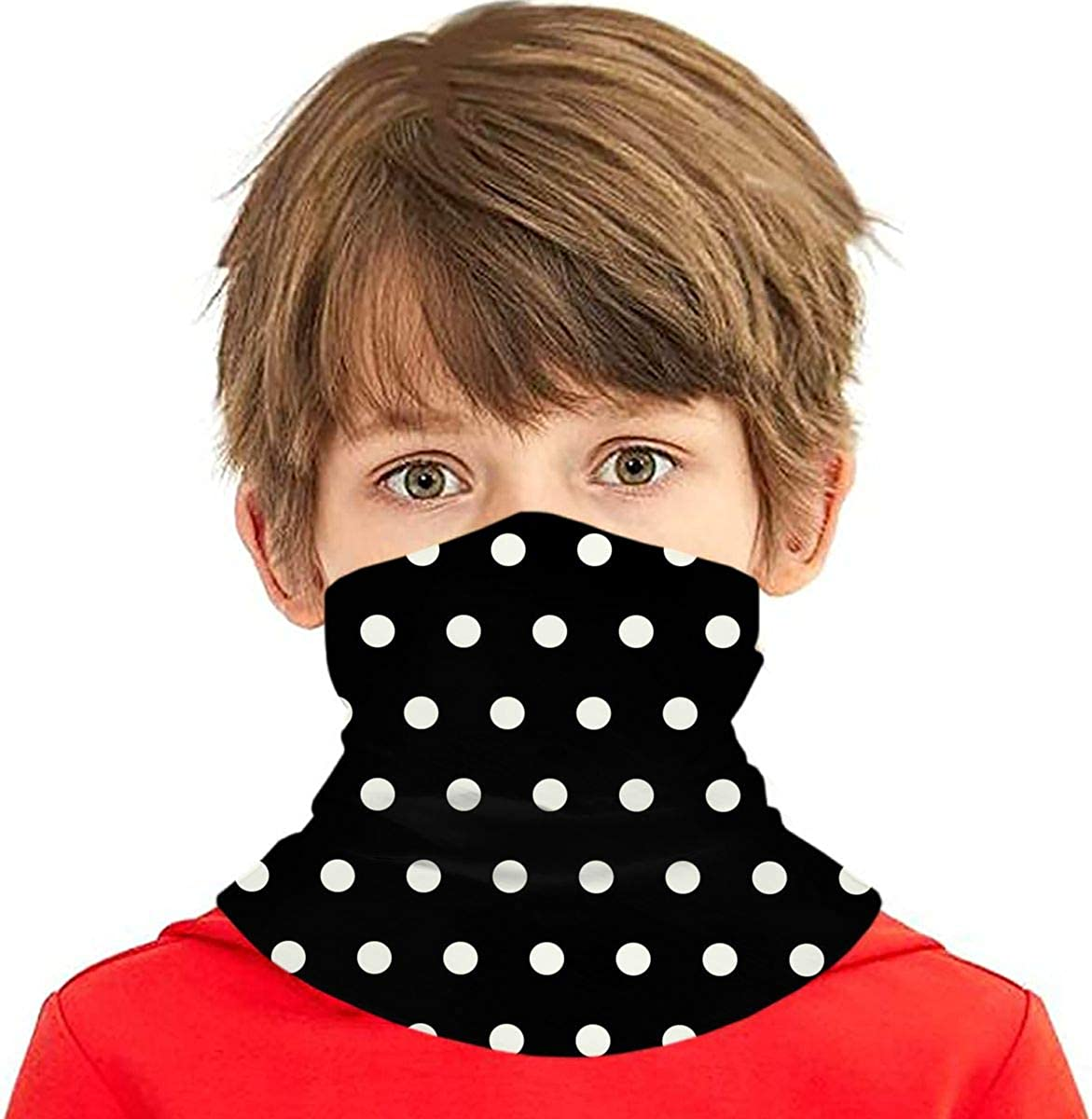 Dujiea Kids Bandanas Face Mask, Black And White Dots Dust Sun UV Protection Neck Gaiter Multifunctional Balaclava Face Scarf Summer Tube Headband Lightweight for Boys Girls Outdoors