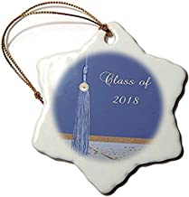Beverly Turner Graduation Design - Beautiful Blue Tassel, Gold Leaf Design On Abstract, Class of 2018-3 Inch Snowflake Por...