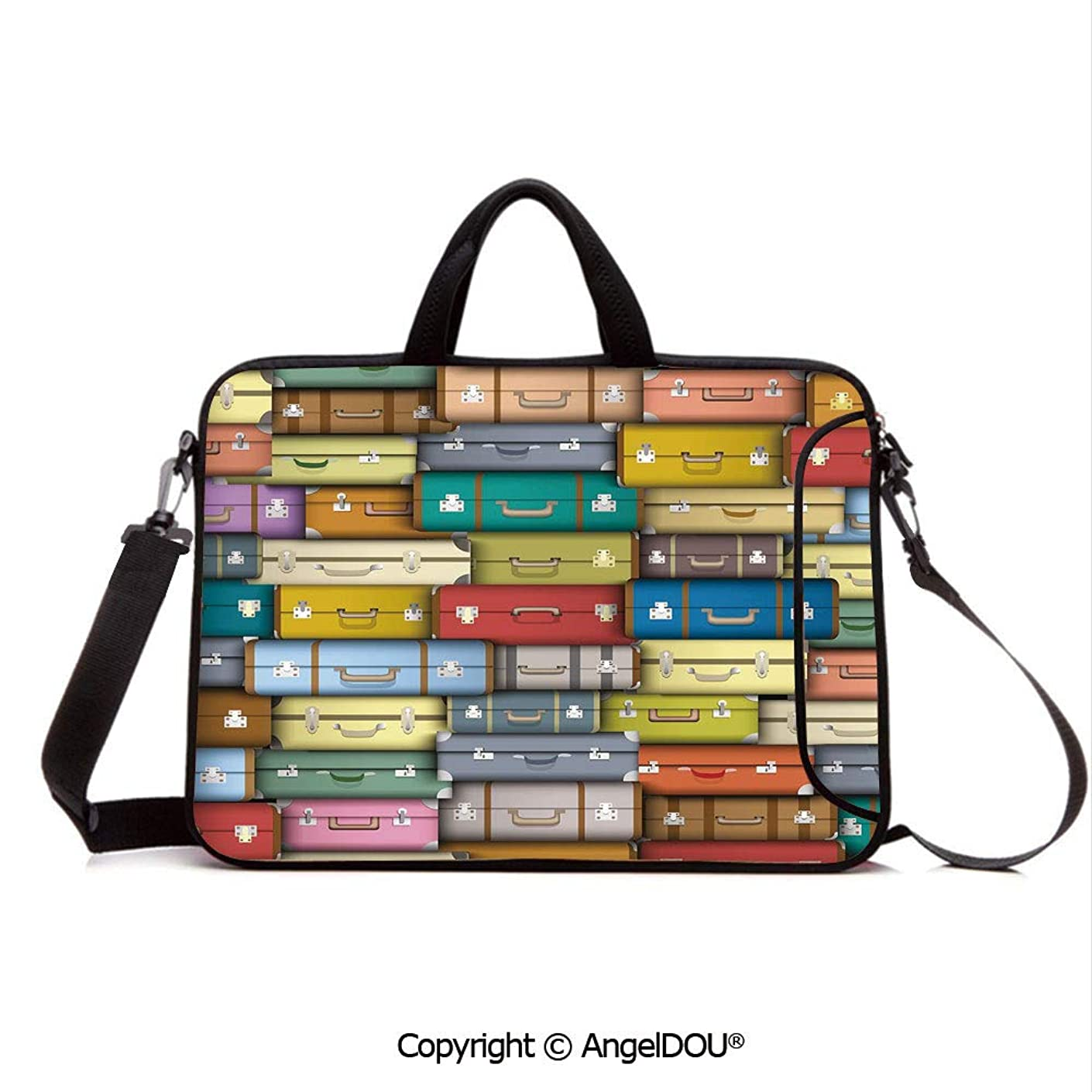 AngelDOU Neoprene Laptop Shoulder Bag Case Sleeve with Handle and Extra Pocket Colorful Suitcases Background Vintage Travel Voyage Holiday Themed Artful Design Compatible with MacBook/Ultrabook/HP/A