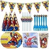 Hao-zhuokun 41 Stück Spiderman Partygeschirr Dekorationen,Geschirr für Kindergeburtstagsfeiern,Party Tableware,Kindergeburtstag Tischdeko Party Set für 6 Personen Spiderman