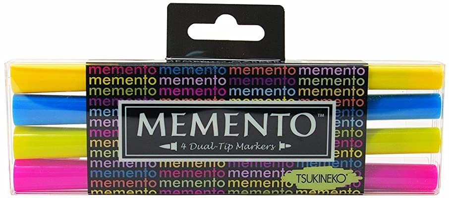 Tsukineko 4-Pack Dual Ended Fade-Resistant and Water-Based Memento Markers, Beach Party
