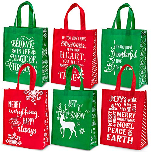 Whaline Christmas Non-Woven Gift Bags Christmas Tote Bags with Handles Red Green Snowflakes Xmas Tree Grocery Bags Reusable Party Treat Goodie Bag for Holiday Party Favors, 12.2' x 9.8' x 4.5', 6 Pack