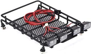 Dilwe RC bil takräcke, mellanstorlek takräcke bagagehållare med kvadrate LED-lampor för axial SCX10 1/10 fjärrkontrollbila...