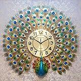 AMYZ Decoración del hogar Reloj de Pared de Pavo Real Europeo Sala de Estar Reloj Creativo Moderno Reloj de Pared silencioso para el hogar de Moda,70 * 65 CM