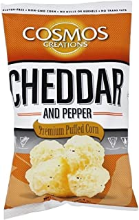 Cosmos Creations Premium Puffed Corn - Cheddar and Pepper Popcorn Without Hulls - Gluten-Free Snack - 7 Ounces