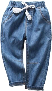 MODNTOGA Toddler Kids Baby Boys Girls Blue Elastic Jeans Casual Long Pants