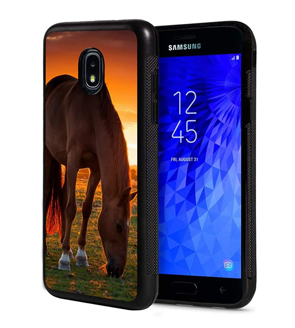 Galaxy J7 2018/J7 V 2018/J7 Refine/J7 Star Case,BWOOLL Slim Anti-Scratch Rubber Protective Cover for Samsung Galaxy J7 (2018) - Horse in The Sunset