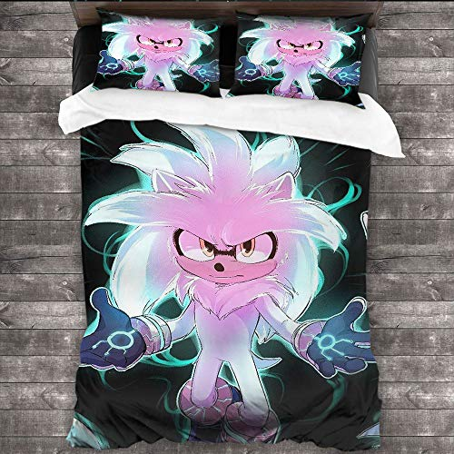 DRAGON VINES 4pcs Bedding Set Crib Sheets Satin Sheets silver-the-hedgehog-sonic-movie Double-bed room W80 xL90