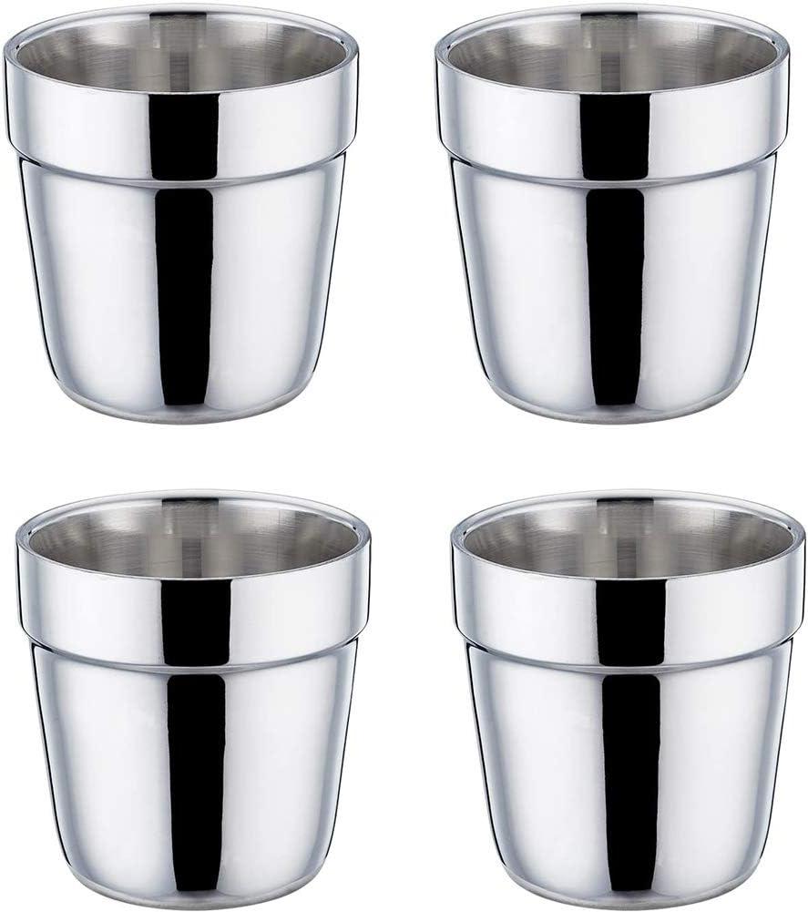 Taza de Acero Inoxidable -Vasos Copas de Metal Tumbler Apilables Premium,Taza de Café/Taza de Té/Vasos de Cerveza para Enfriar ideal para Viajes al Aire Libre,Camping y Todos Los Días 4 piezas (175ml)