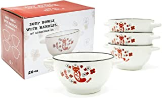20-ounce Footed Ceramic White Soup Cereal Bowls with Handles - Set of 4 - Fox Folk Art Dinnerware Crocks