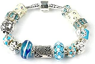 Liberty Charms Teenager/Tween 'Blue Babe' Daughter Silver Plated Charm/Bead Bracelet