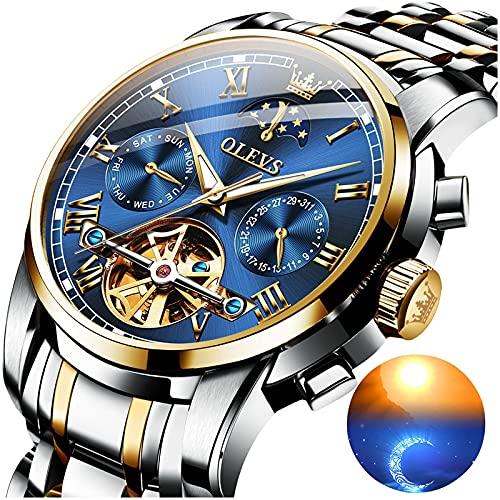 Automatic Watches for Men Tourbillon Skeleton Watch Self Winding Mechanical Men's Wrist Watches Blue Face Waterproof Moon Phase Luxury Dress Swiss OLEVS Date Calendar Watch Men,relojes de Hombre