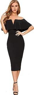 Women's Elegant Off Shoulder Ruffle Flounce Sleeve Bodycon Dress