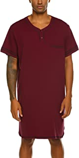 Men's Nightshirt, Cotton Nightwear Comfy Big&Tall V Neck Short Sleeve Soft Loose Pajama Sleep Shirt