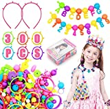Snap Pop Beads for Girls Toys - Kids Jewelry Making Kit (300+ PCS) Art and Craft Kits DIY Bracelets Necklace Hairband and Rings Toy for Age 3 4 5 6 7 8 Year Girl