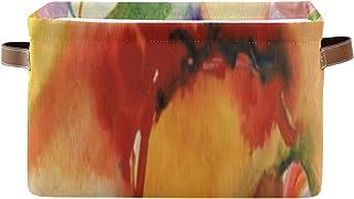 Paniers de rangement Boîte à étagères pour organisateur de placard Magnolia peinte à la main abstraite avec poignée Rangem...