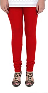 Vami Women's Cotton Blend/Spandex Churidaar Leggings (VM1001(67)_true red (67)_Free Size)