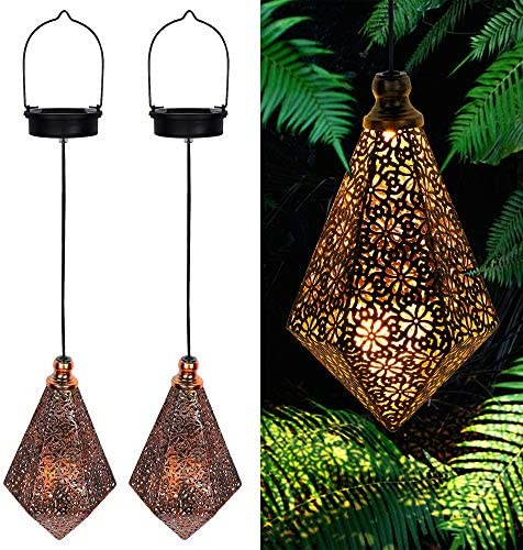 MAGGIFT 2 Pack Solar Hanging Lights Solar Powered Retro Lantern with Handle Warm White LED Garden product image
