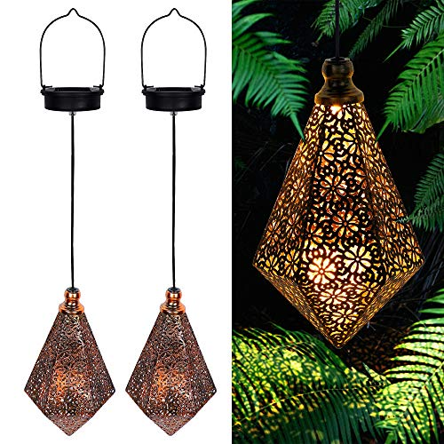 MAGGIFT 2 Pack Solar Hanging Lights, Solar Powered Retro Lantern with Handle, Warm White LED Garden Lights, Metal Diamond Shape Lamp Waterproof for Outdoor for Yard Tree Fence Patio