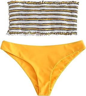 55f4281d51 ZAFUL Women s Strapless Striped Frilled Smocked Two Piece Bandeau Bikini Set