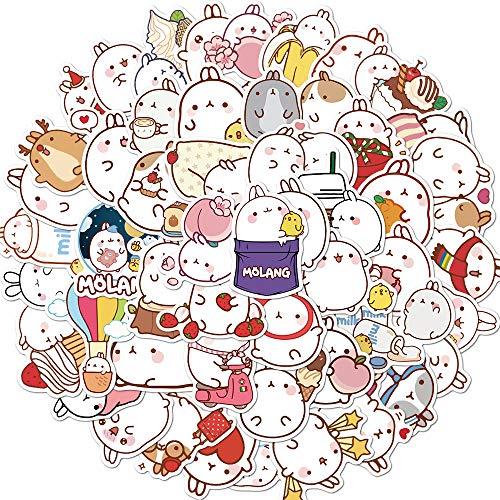BUCUO Pegatinas Personalizadas de Conejo Redondo Bonito de Dibujos Animados, Caja de Equipaje, portátil, Tableta, Ordenador, teléfono móvil, Taza de Agua, Pegatinas 50 Uds