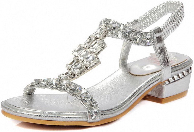 WeenFashion Women's Pu Solid Pull On Open Toe Low Heels Sandals