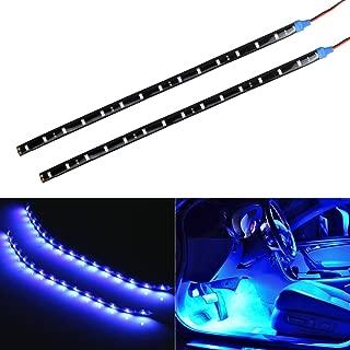 Partsam 2PCS Blue LED Strip Lights Interior Under Dash Floor Light for Cars Trucks Pickup 12