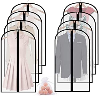 homeminda Garment Bags for Clothes 8packs 48in Clear Moth Proof Dust Cover Hanging Lightweight Breathable with Cedar Balls and Study Full Zipper for Storage and Travel