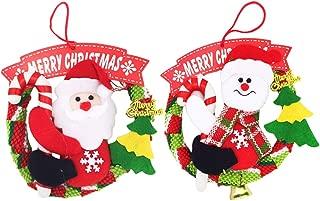 Amosfun 2pcs Merry Christmas Wreath Cartoon Doll Hanging Garland Ornament for Xmas Tree Festive Home Front Door Wall Window Decor (Snowman Santa)
