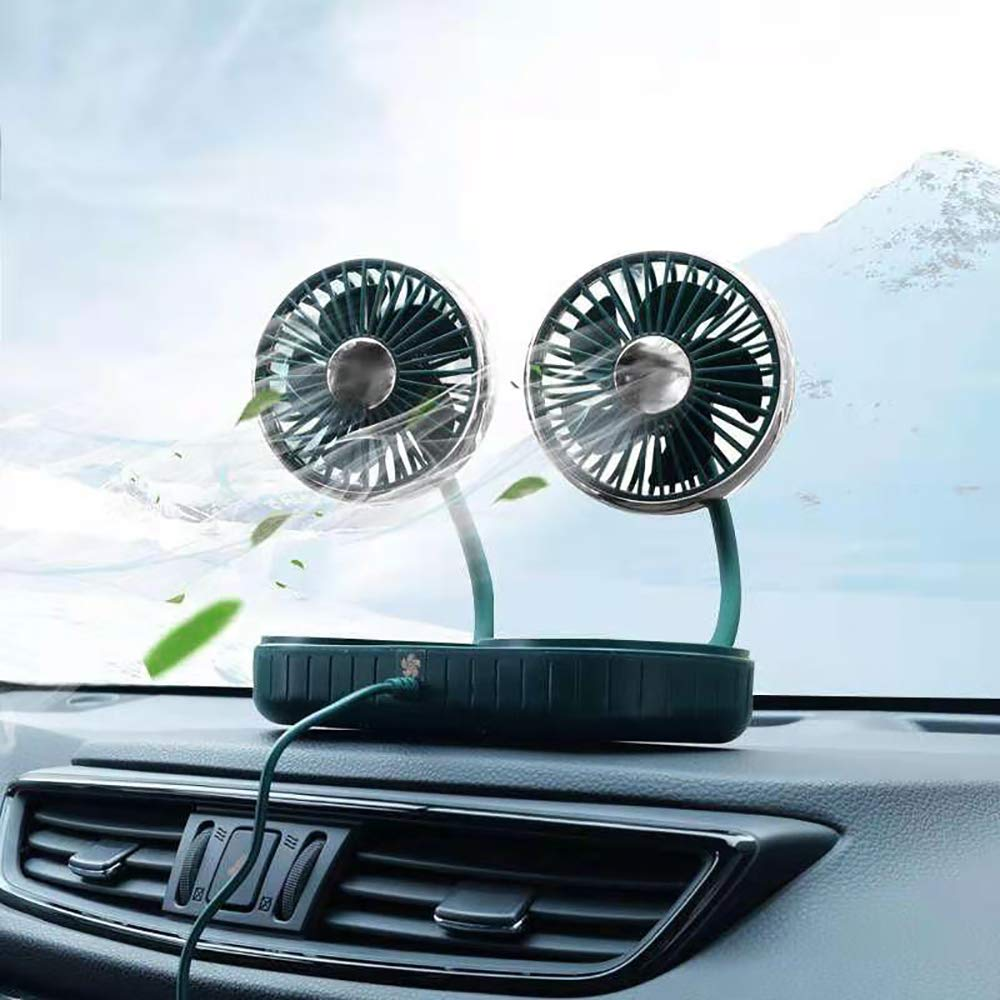 Vehicle USB Fan,Dual Head Electric Car Fan Dashboard Mounted | 3 Speed & 360° Rotation | Car Auto Powerful Cooling Air Fan for Sedan SUV Auto Vehicles | Portable Personal Fan for Home Office